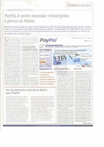 Article Lavieeco sur Paypal au Maroc